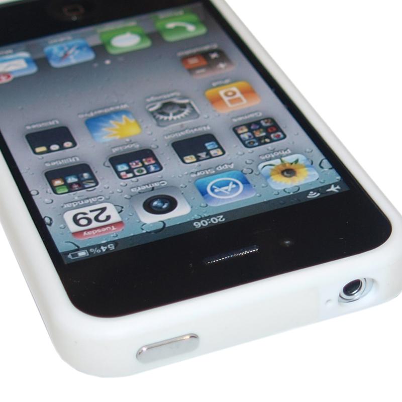 PERFECT FIT TPU GEL SILICONE BUMPER RIM CASE COVER FOR IPHONE 4 4S WHITE & WHITE