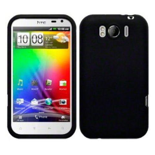 GEL SKIN CASE TPU SILICONE COVER FOR HTC SENSATION XL BLACK + SCREEN PROTECTOR