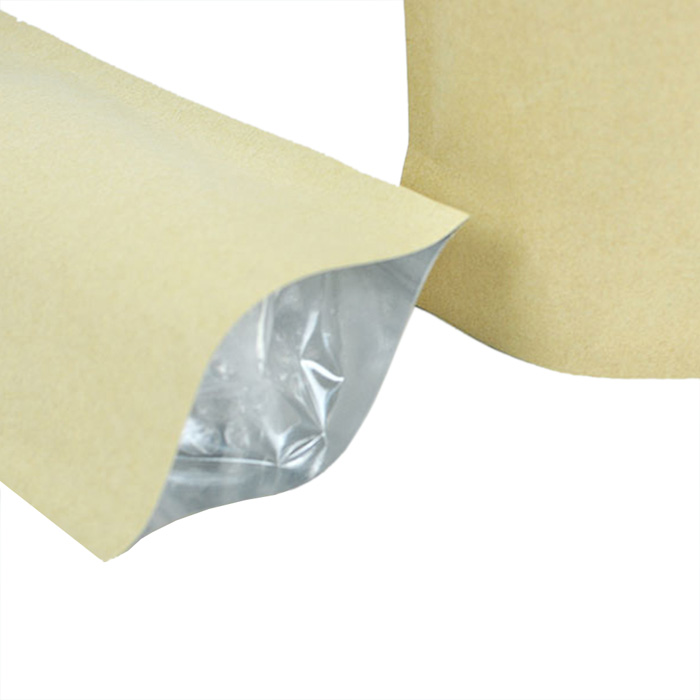 Ziplock Grip Seal Bags Stand Up Pouch Brown with Aluminium Foil Inner 10cmx15cm