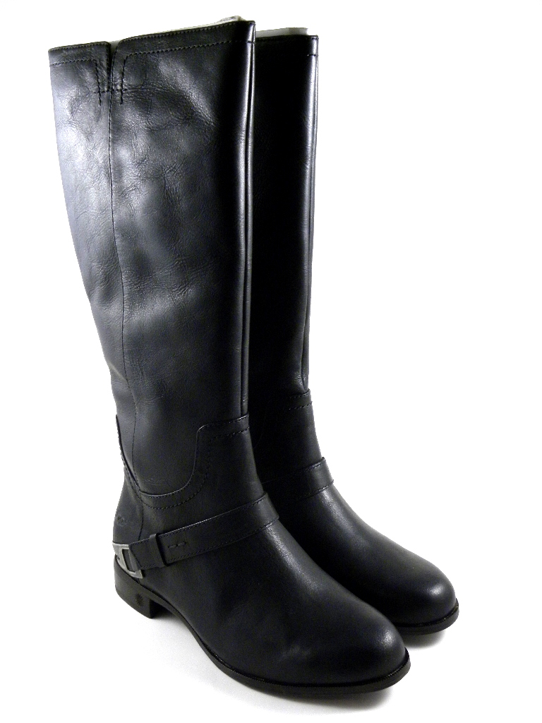 UGG Austrlaia Channing II Black Tall Leather Winter Boots