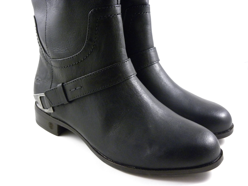 UGG Austrlaia Channing II Black Tall Leather Winter Boots ...